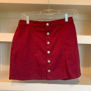 Red Mini Skirt with Gold front buttons